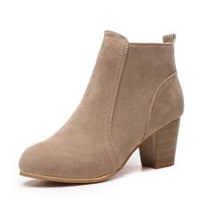 Thời trang Nữ Cô Gái Nữ Mùa Đông Ngân Khánh Martin Giày Boot Cổ Ngắn Cổ Trung gót Giày Màu Nâu-quốc tế