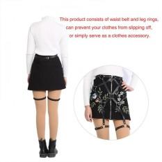 Da PU thời trang Dây An Toàn Toàn Thân Dây Lưng Chân Sọc Suspender Quần Áo Phụ Kiện (Đen)-quốc tế