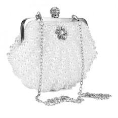 Thời trang Nữ Ngọc Trai Giả Kim Cương Giả Tối Túi Xách Dự Tiệc Clutch Màu Be-intl