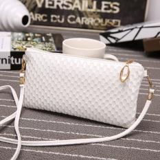 Fashion Women Leather Clutch Shoulder Messenger Evening Bag Fish Scale Handbag White – intl