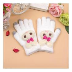 Găng ( bao ) tay nữ len dệt kim bông xốp dày dặn ấm áp họa tiết Thỏ bông dễ thương ( Be )