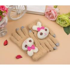 Găng ( bao ) tay nữ len dệt kim bông xốp dày dặn ấm áp họa tiết Thỏ bông dễ thương ( Kaki )