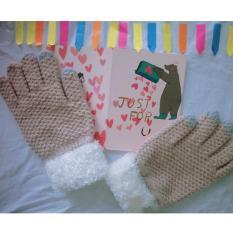 Găng ( bao ) tay nữ len dệt kim lót bông phối cổ lông cao vừa dày dặn ấm áp ( Kaki )