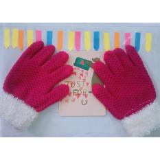 Găng ( bao ) tay nữ len dệt kim lót bông phối cổ lông cao vừa dày dặn ấm áp ( Tím )