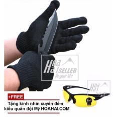 Găng tay chống cắt cao cấp đa năng HoaHai.com (đen) + Tặng kính nhìn xuyên đêm quân đội