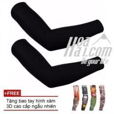 Găng tay chống nắng HOAHAI.COM (Đen) + Tặng kèm găng tay hình xăm 3D