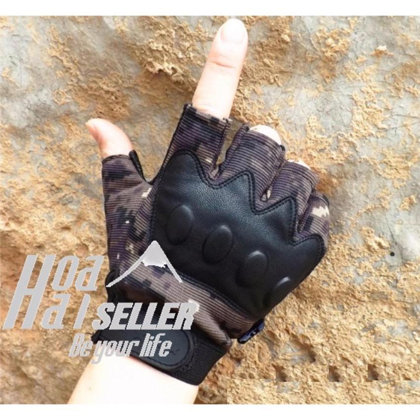 Hình ảnh Găng tay dã chiến quân đội HOAHAI kỹ thuật số (đen nâu) + Tặng 1 quẹt ngẫu nhiên
