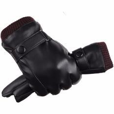 Găng tay da nam cảm ứng chống nước (Đen)