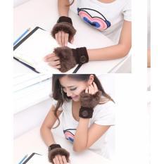 Găng tay len hở ngón mùa đông dành cho nữ (Nâu)