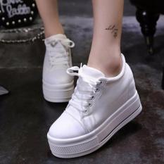 Giày bánh mì đế độn cá tính cao 9cm chất vải mềm mại full size màu trắng BM052T