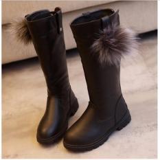 Giày bé gái boot ống đính lông cổ cao SC037