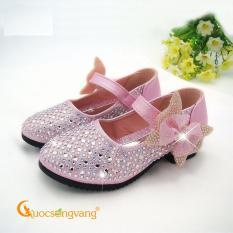 Giày bé gái công chúa giày công chúa bé gái đính đá GLG015 hồng