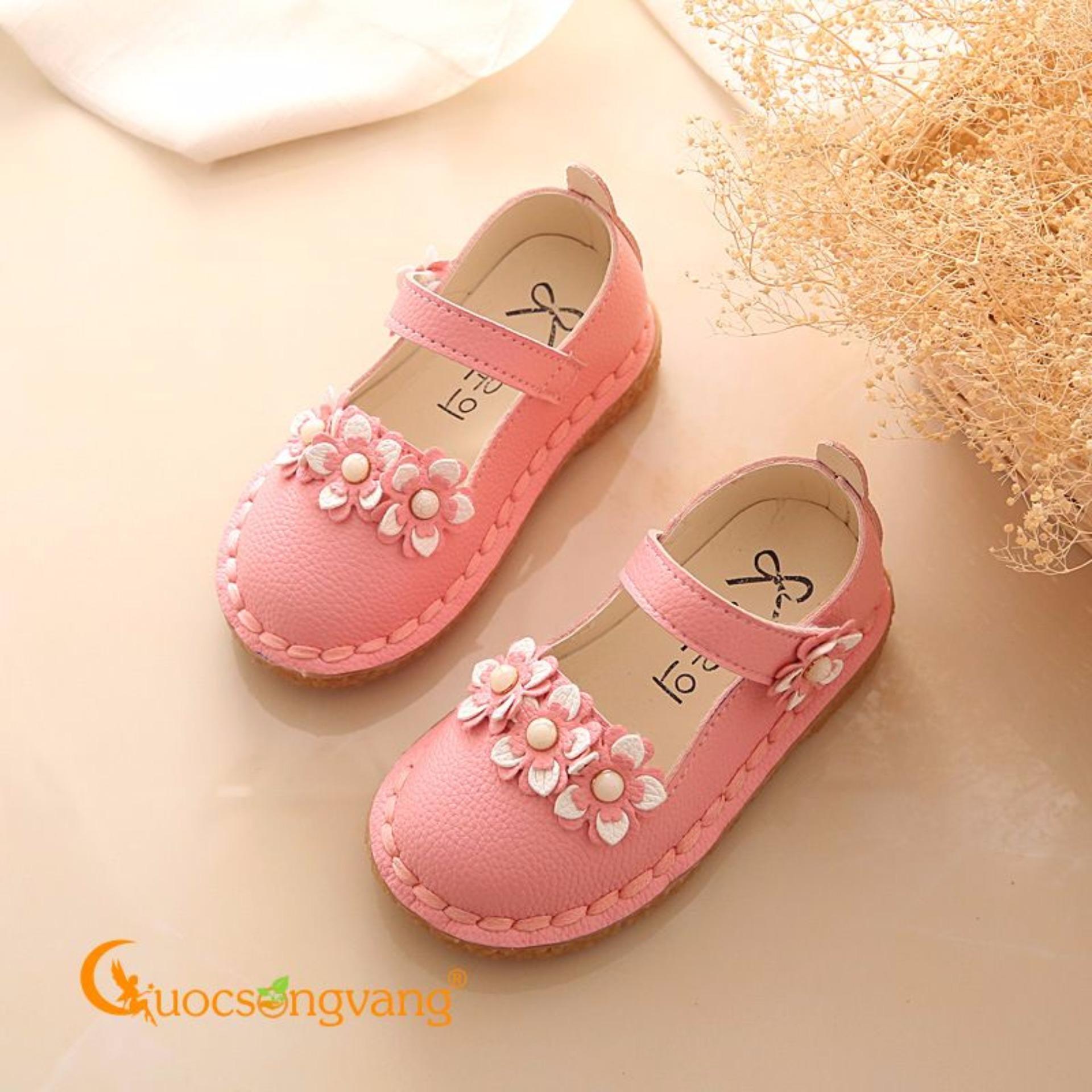Giày bé gái đẹp đính hoa giày búp bê bé gái đế mềm GLG027-Pink