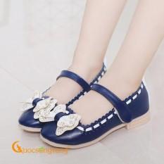 Giày bé gái đẹp đính nơ giày búp bê quai dán GLG023