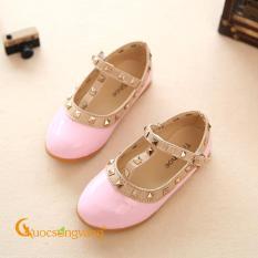 Giày bé gái đẹp giày học sinh màu hồng GLG076