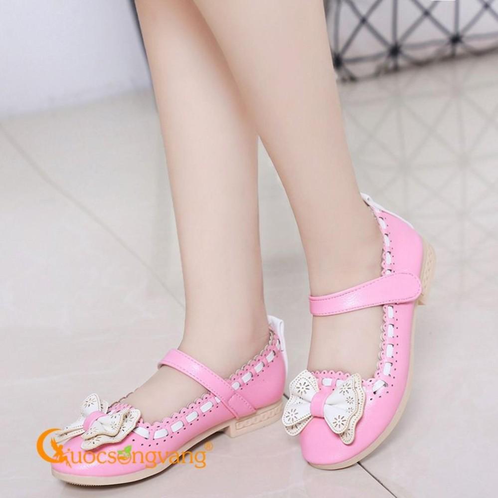 Giày bé gái đính nơ giày búp bê bé gái quai dán đẹp GLG022