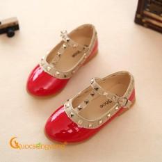 Giày bé gái quai cài đẹp giày học sinh đính kim loại màu đỏ GLG075