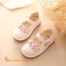 Giày bé gái quai cài giày búp bê bé gái đính hoa đế êm GLG027-White