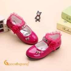 Giày bé gái thêu ren giày đính đá bé gái màu hồng sen GLG066