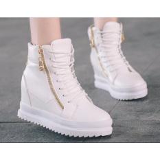 Giày Boot Nữ Cá Tính,giày boot da độn đế 6cm B042T