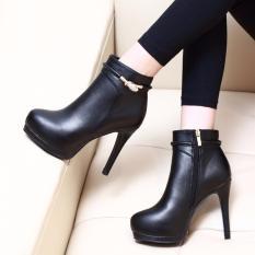 Giày boot nữ cổ ngắn cao gót sành điệu hiện đại GBN161