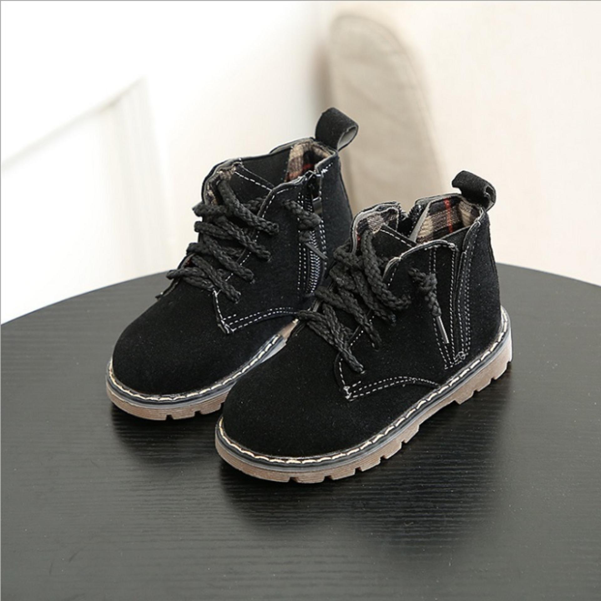 giày bốt buộc dây da lộn cho bé