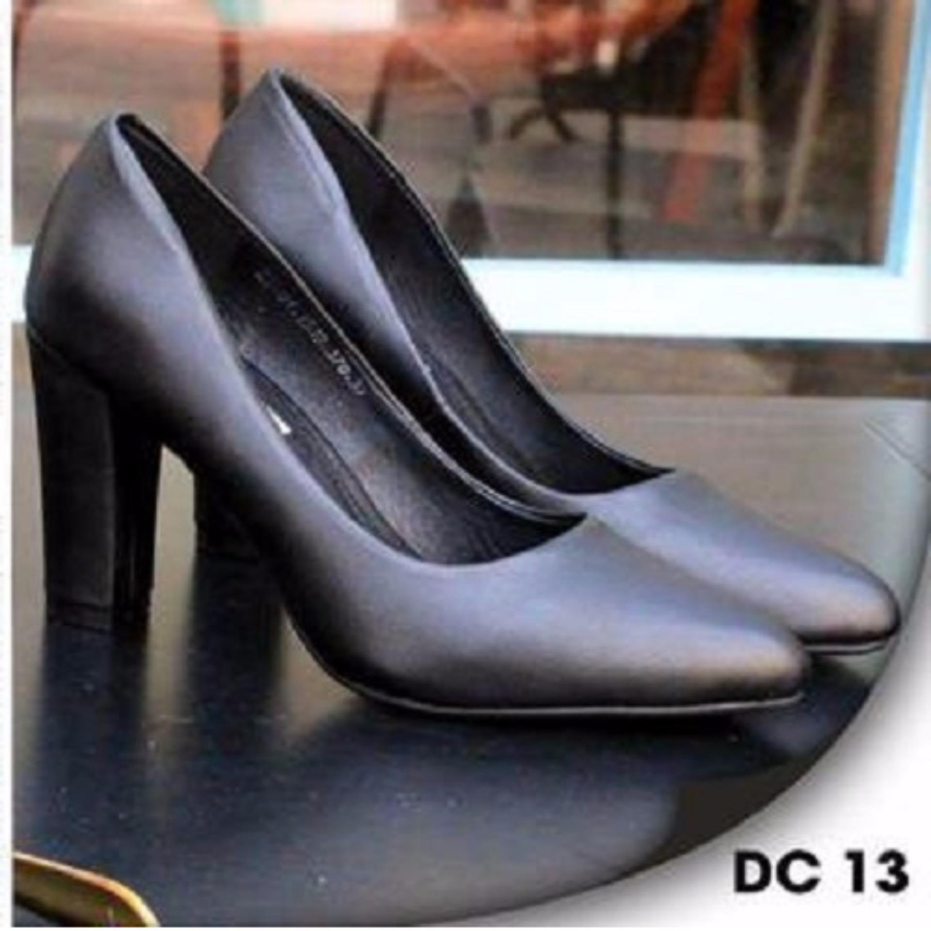 Giày Búp bê Cao gót Mũi Nhọn 7p da mềm-màu đen