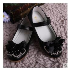 Giày búp bê da mềm, chống trơn trượt cho bé gái (mầu đen)