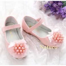 Giày búp bê da mềm, chống trơn trượt cho bé gái (mầu hồng)