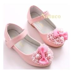 Giày búp bê da mềm chống trơn trượt cho bé gái (màu hồng)