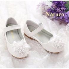 Giày búp bê da mềm, chống trơn trượt cho bé gái (mầu trắng)