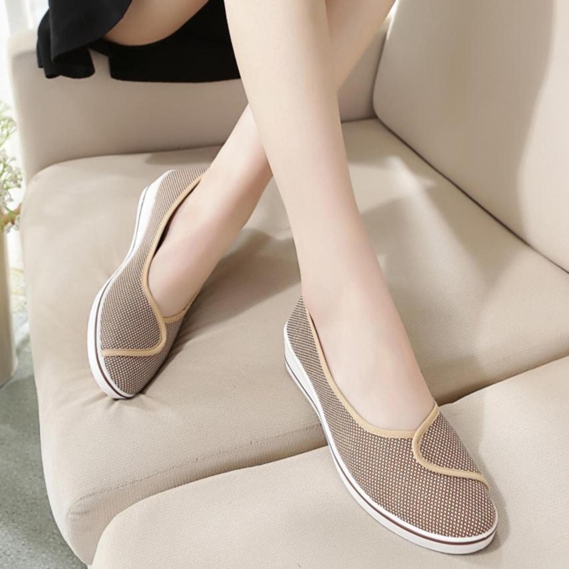 Giày búp bê đi bộ cực êm chân (Nâu carô)