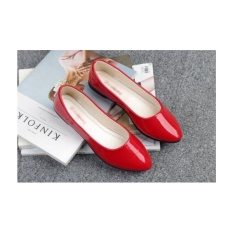 Giày búp bê MYS bóng trơn màu đỏ