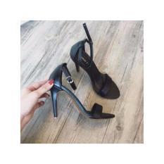 Giày Cao gót nhọn đen mờ quai ngang mờ 7p-màu đen