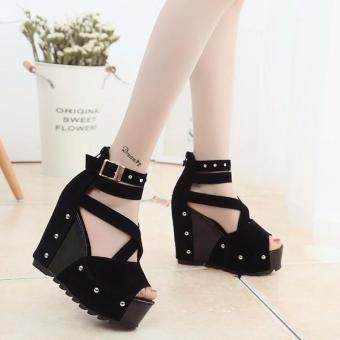Giày cao gót nữ da phối beo cao cấp LN1242 (Đen)
