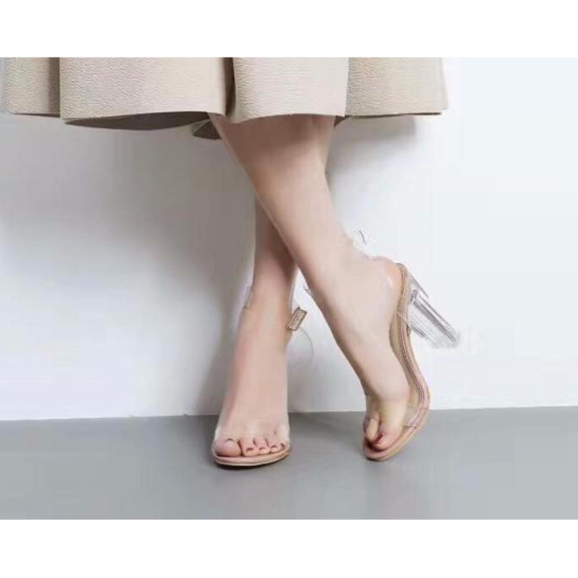 Giày cao gót Trong 7P quai Trong-màu kem