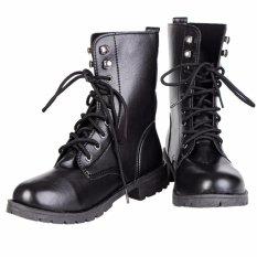Giày combat boot da trơn S061 (Đen)
