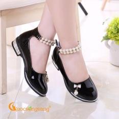Giày công chúa bé gái dây đeo ngọc trai giày bé gái kiêu sa đính nơ GLG034-Black