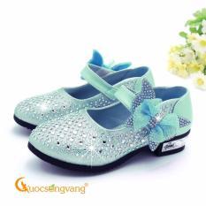 Giày công chúa đính đá giày bé gái quai cài GLG015 xanh lá