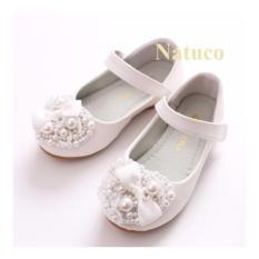 Giày đế bệt da mềm chống trơn trượt cho bé gái (màu trắng)