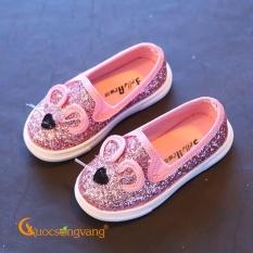 Giày dép bé gái giày bé gái đẹp màu hồng đính kim sa hình chuột GLG033-Pink