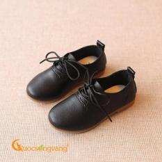 Giày dép bé trai giày bé trai kiểu giày tây đế kếp chống trượt GLG037-Black