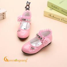 Giày đính đá bé gái giày bé gái thêu ren màu hồng GLG066