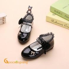 Giày đính đá bé gái giày học sinh thêu ren GLG066 đen