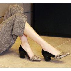 Giày Gót Vuông Phối Da Rắn