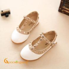 Giày học sinh màu trắng giày bé gái đính kim loại màu GLG075