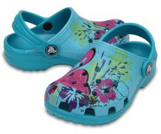 [Premier] Crocs – Giày lười bé trai 204118-440 Classic Graphic Clog K Tur ( Xanh ngọc ) – Authorized By Brand