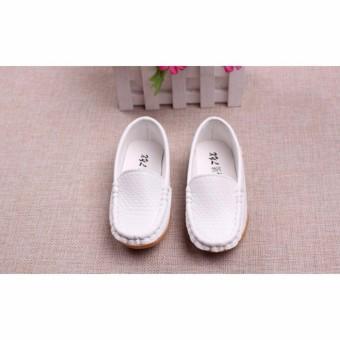 Giày lười Moca trắng cho bé trai