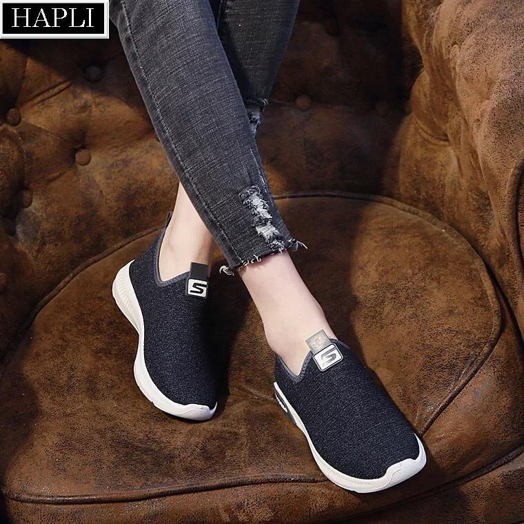 Giày lười nữ chữ S mới đế êm và nhẹ HAPLI (tùy chọn: đen, xám)