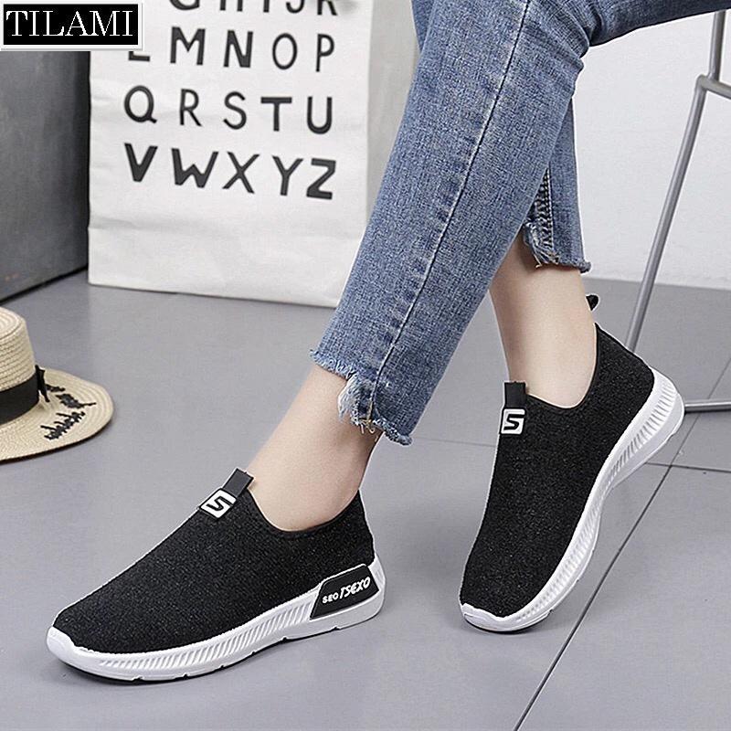 Giày lười nữ chữ S mới đế êm và nhẹ TILAMI (tùy chọn: đen, đỏ đô, xám)